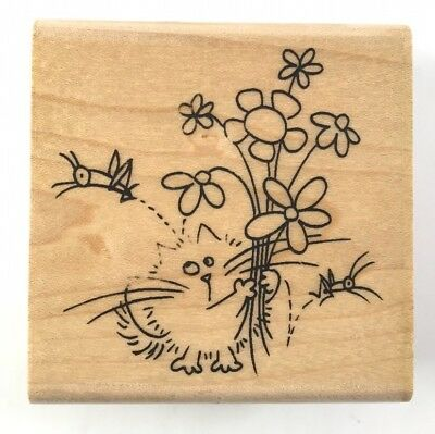Fluffles The Cat Grasshopper Stampendous Rubber Stamp 2006
