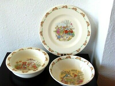 Adorable Royal Doulton Bunnykins Childrens Plate, Bowls, Dishes ~ England