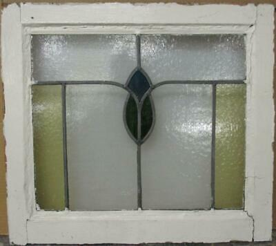 "OLD ENGLISH LEADED STAINED GLASS WINDOW Pretty Bordered Abstract 20.75"" x 18.5"""