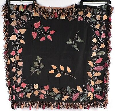 Victorian 19Th C Applied & Hand Embroidered Table Cover W Tassel Fringe Edges