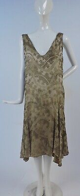 Antique 1920'S Metallic Gold Lame Silk Flapper Dress