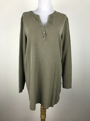 Pure Jill Blouse Tunic Size XS Olive Green Textured Long Sleeves Shirt Top