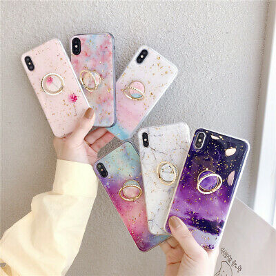 iPhone Xs Max XR X 8 7 6s Plus Bling Marble Pattern Ring Stand Slim Case Cover