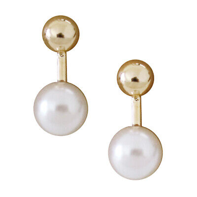 LEEVE Gold Silver Small Ball Bar Pearl Drop Stud Earrings Sterling Silver Post