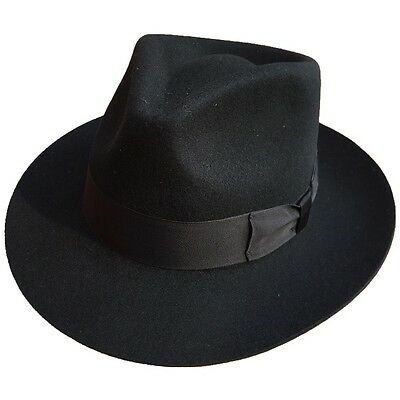 Classic Black Men's Wool Felt Godfather Gangster Mobster Gentleman Fedora Hat