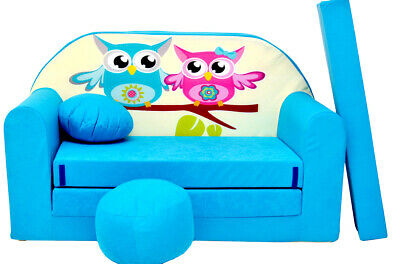 Children's sofa bed, Fold Out Sofa Foam Bed 4 children + free pillow and pouffe
