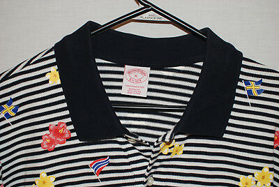 83b47ce51 Brooks Brothers Mens Short Sleeve Polo Shirt Navy Striped Flowers Flags XL  NWOT