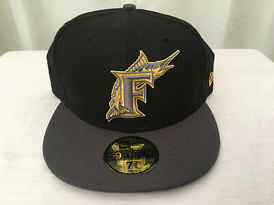 new product 009a0 5d52c NEW ERA 5950 Florida Marlins Black   Gold Wool Baseball Cap, Sz 7 3