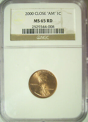 "2000 LINCOLN MEMORIAL CENT 1C w/ CLOSE ""AM""  NGC MS65 Red  ""RARE!  POP 17"""