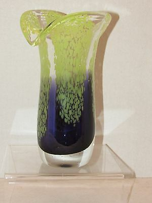 "Vintage Hand Blown Lime Green & Purple Tulip Art Glass Vase 8"" Tall"