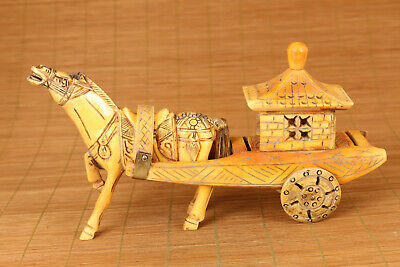 Valuable old Collection horse-drawn cart statue home decoration noble gift