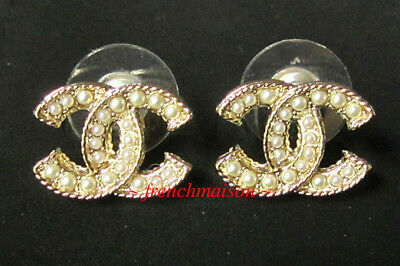 5a6456fd4 AUTHENTIC CHANEL Gold CC Pearl Earrings Stud Classic 2019 Cruise New NWT  Rare