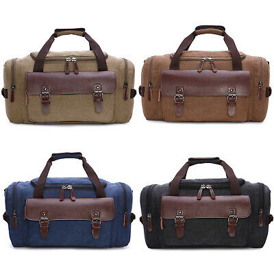 Men's Large Canvas Leather Duffle Bag Shoulder Travel Luggage Handbag Gym Tote