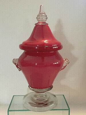 Antique Blown Cased Glass Covered Urn – Pittsburgh District ?