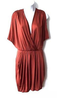ebb90b55e8e Black Halo Jill Dress Large Drape Grecian Rust Red Orange V-Neck Mini