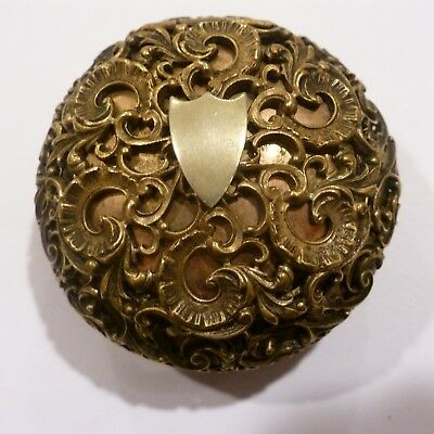 Antique Opera Style Snuff Box 3D Floral Filigree Rolled Gold Plate