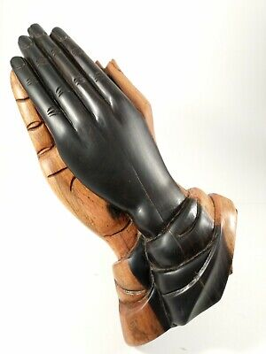 """Vintage Hand Carved Wooden Hands """"Praying Hands"""" 10 inches tall.  Two color wood"""