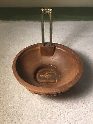 "Vintage Wood ""FTD"" 1984 Wooden Nut Bowl With Nut Cracker Hand Made"