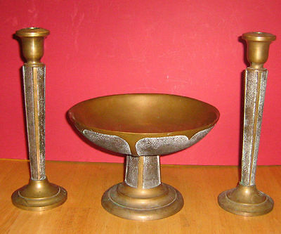 Vintage Rare Pair of Heavy Bronze/Brass Candlestick and bowl