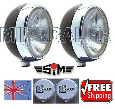 """2x 7"""" SIM DRIVING SPOT LAMPS LIGHTS WITH CIBIE OSCAR COVERS AND BULBS! SPOTLIGHT"""