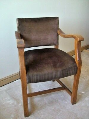 Art Deco Club Chair Oak - Vintage 1930's Armchair Occasional Chair Rustic Chic