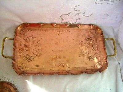Antique Stylish Art Nouveau Rectangular solid -Copper & Brass Tray ~ by J S & S