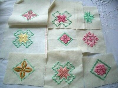 Needlepoint - 9 x Finished squares, ideal for card making         ref 6F