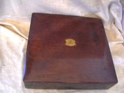 Antique Mahogany Old Cutlery Box With Brass Plaque