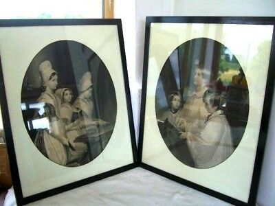 Antique PAIR of prints black & white etching-'CHOIR BOYS'+ 'YOUNG GIRLS'  framed