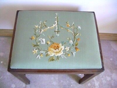 Vintage Embroidered Wooden Stool