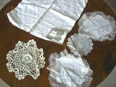 Job Lot of 5 Asst Vintage Items~Table Mats,Lace,Embroidery,Linen