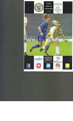 PROGRAMME - GILLINGHAM LADIES  v KENT FOOTBALL UNITED LADIES 21/10/2018