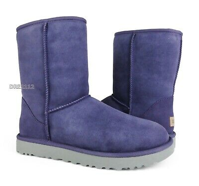 UGG Classic Short II Purple Sage Suede Fur Boots Womens Size 8 *NEW*