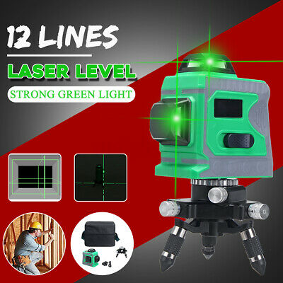 3D 12 Lines Self Leveling Green Laser Beam Auto 360° Rotary Cross Measure Tool