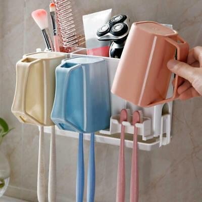 Toothpaste Toothbrush Holder Home Bathroom Wall Mount Stand Storage Rack esz