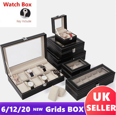 20Grid Luxury Faux Leather Watch Jewelry Storage Display Box Case Holder +Pillow