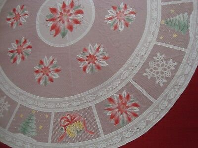 """One CHRISTMAS LACE CROCHET TABLECLOTH Poinsettia White 68"""" round Air Brush Color"""
