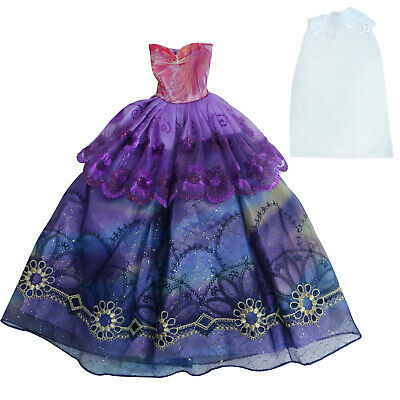Handmade Wedding Party Dress Evening Ball Gown Veil Clothes for Barbie Doll Gift