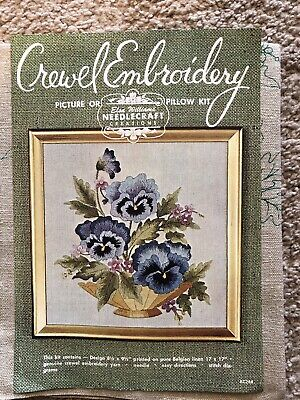 Vtg Elsa Williams Crewel Embroidery Picture Or Pillow Kit Summer Bloom Violets