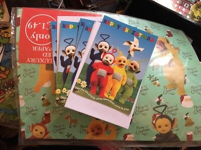 Retro Teletubbies 1990s Christmas Cards x 5 New Sealed Wrapping Paper 4 Sheets