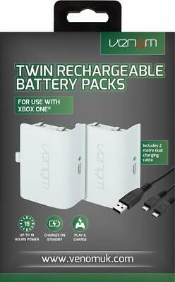 Rechargeable high capacity Battery Venom Xbox One Charge & Play White USB  x 2