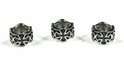 Cross Column Beads Stainless Steel For Leather & Paracord Bracelets & Lanyards