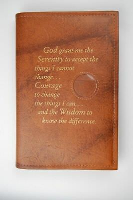 Alcoholics Anonymous AA Big Book Cover Serenity Tan Medallion Chip Holder