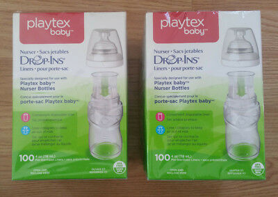 Playtex Baby Nurser Drop-Ins Lot of 2 Boxes - 100 Pre Sterilized 4oz Liners each