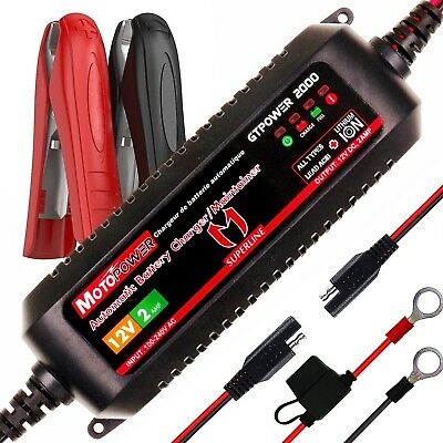 MOTOPOWER 12V 2Amp Automatic Battery Charger Lead Acid & Lithium Ion Batteries