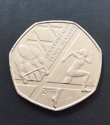 50p Coin Glasgow Commonwealth Games Male Cyclist Female Runner 2014 FREEPOST