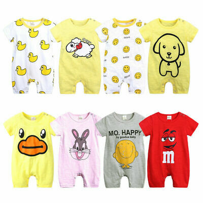 Newborn Baby Boys Girls Short Sleeve Romper Jumpsuit Summer Clothes Outfits UK