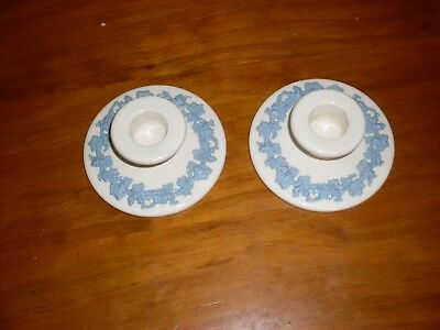 Pair of vintage white/blue Wedgewood candle sticks