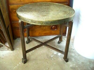 Brass top, folding art deco ,middle eastern, Benares table