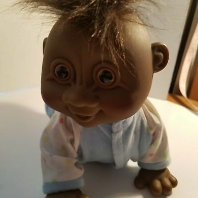"""Russ Berrie Black 11"""" Full Size Baby Troll Doll #9111 H04 Clothed Does Not Work"""
